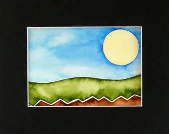 """Original Watercolor, abstract landscape, bright colors, 5""""x7"""", matted, springtime colors, ready to ship"""