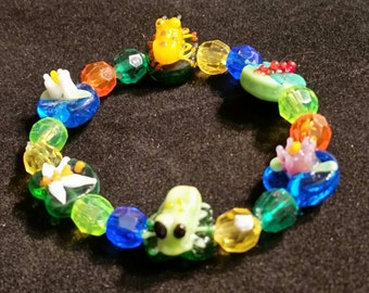 Frog and Lily Pad Beaded Stretch Bracelet