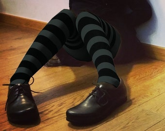 Striped tights gray-green on black