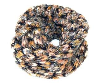 Crochet Infinity Scarf - Brown/Tan