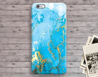 Turquoise Marble iPhone 6S Case, Marble iPhone 7 Case, Blue Gold iPhone 7 plus case, iPhone 6 Plus, iPhone SE Case, iPhone 5S Case 4S 5 5C