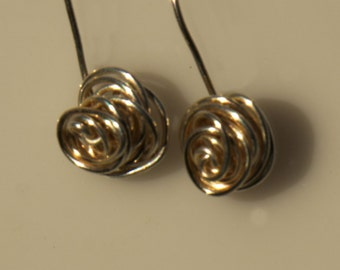 Wire Wrapped Rosebud  Earrings