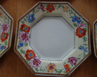 Six pretty vintage octagonal small plates Tillson ware