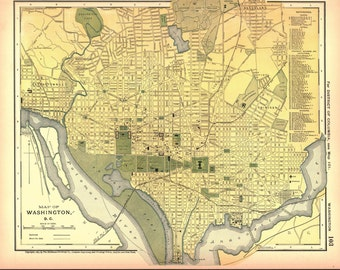 Washington DC Antique Map 1891