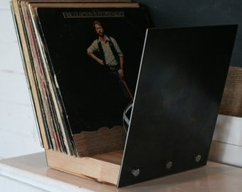 vinyl record storage with maple base holds 50 records