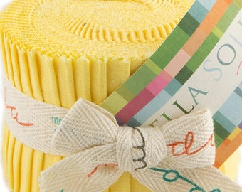 """SALE Bella Solids - Jr Jelly Roll - Moda - (20) 2.5"""" Strips - Yellow # 23"""
