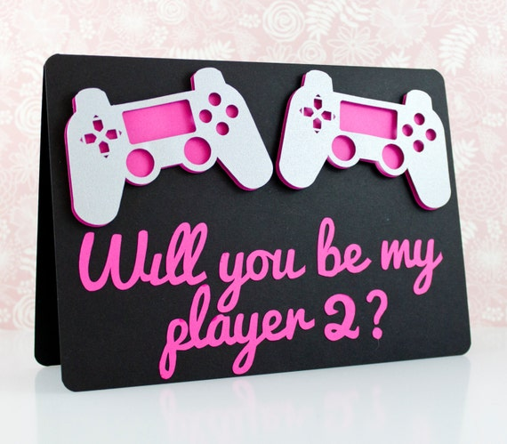 Will You Be My Player 2 Greeting Card Nerdy Geeky Gamer PS4 – Gamer Valentine Cards