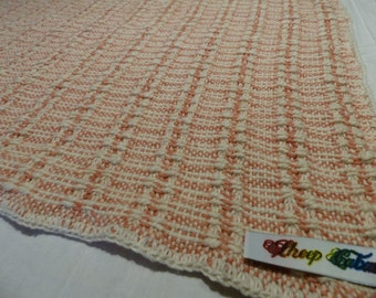 Baby blanket: Handwoven, organic cotton, natural-dyed yarn, pink & natural
