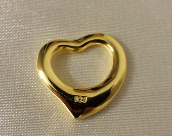 Gold heart, gold plated over sterling silver heat pendant