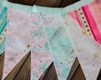 Mermaid party banner,beach party banner,mermaid baby bunting,Michael Miller,aqua mermaid garland,ocean beach banner,mermaid photo prop