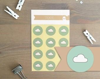 Stickers 12 pieces / Cloud (2 cm round)