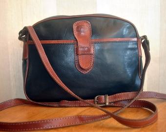 Vintage La Moda design small black tan leather trimmed genuine leather oval shoulder bag cross body bag