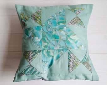 Handmade Patchwork Cushion Cover - Birds in Blue and Green. Turquoise Throw Pillow, Home Decoration, Teal Textiles, Quilted, Gifts for Her