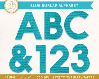Blue Burlap Alphabet: Rustic BURLAP ALPHABET letter clipart. Digital scrapbook alphabet.