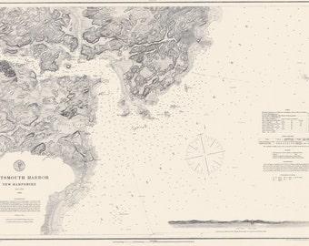 1866 Nautical Map of Portsmouth Harbor New Hampshire