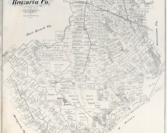 1879 Map of Brazoria County Texas