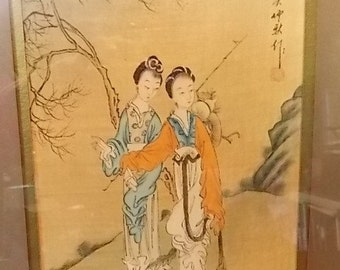 Vintage Japanese Watercolor Painting on Silk of Two Women in a Bamboo Style Frame