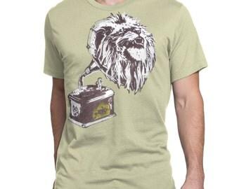 Lion Roar T-Shirt - Sand/Beige Mens Top, Music Tee, Record Player, Gramophone Illustration, Bob Marley Shirt UK, Custom Clothing Print