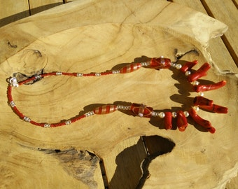 The Virgin-Red Red red bamboo coral Necklace women women, Tent, bamboo coral, Murano glass, archetypes, archetypes
