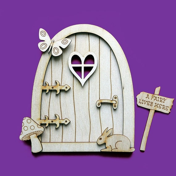 3d wooden fairy house door elf plain blank craft shapes for Fairy door shapes