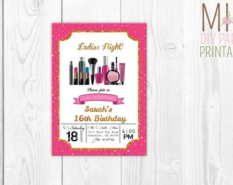 Glitter makeup invite,Make-up invitation, Spa party invitation, Makeup invitation, spa invite, glamour invite, glamour party