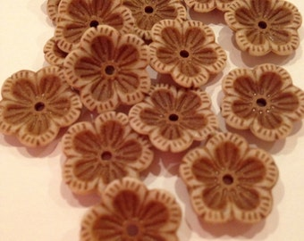 Flower Brown Buttons, Set of 15, UK Seller, Posted Next Working Day