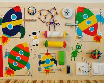 """Busy Board """"Space"""", Activity Board, Sensory Board, Montessori educational Toy, Wooden Toy, Fine motor skills board for toddlers & babies"""