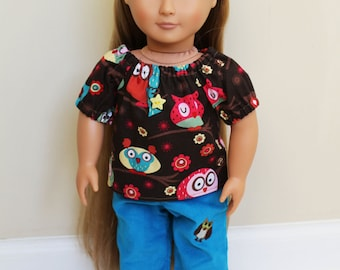 Owl peasant top for American Girl Doll