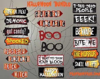 Halloween Props | Halloween Signs | Photo Booth Props | Prop Signs