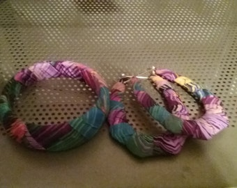 Colorful fabric wrapped earrings and bangle set