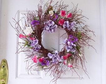 Grapevine Wreath Hydrangea Wreath Silk Wreath Front Door Wreath Farmhouse Wreath Door Decor Summer Wreath Housewarming Gift Summer Wreath