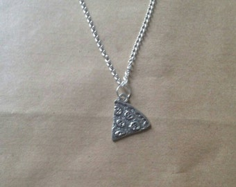 Silver Pizza necklace  pizza quirky necklace best friend pizza chain kawaii pizza chain  kitsch necklace choker sliver plated.