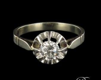 Solitaire diamond 0.55 carat white gold 18K Vintage
