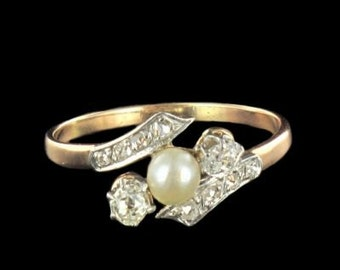 Old ring Pearl fine diamond rose gold 18K 19th