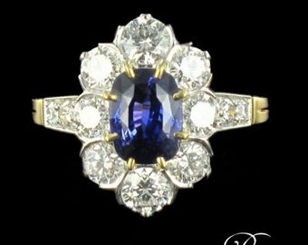 Cushion sapphire ring diamonds marguerite 18K Yellow Gold Platinum 19th modern