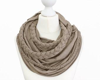Zopfloop taupe / / Zopfschal / / braided scarf