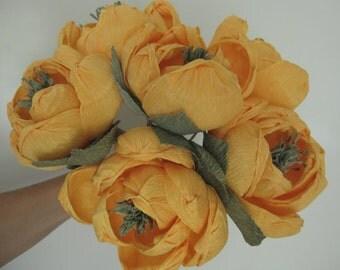 Orange Rustic Style - Magnolia Bouquet Wedding Flowers Bride Bouquet Paper Flowers