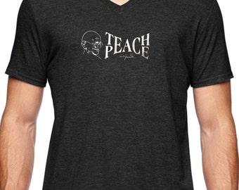 "Style 752V ""Teach Peace w/Ghandi"" Men's Tri-Blend Yoga Activewear Tee  V or Scoop Neck"
