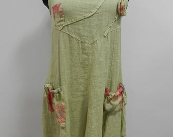 Linen Dress-tunic , clothing , tunic, dress, green dress , flowers dres, womens clothing