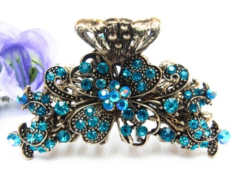 Blue Crystal Metal Alloy flowers Hair Claws Pins Clips #7864