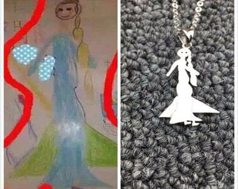 Custom Silver Necklace,Kids Painting Necklace,Engraved Photo Necklace,Personalized Silver Pendant,Kids Painting