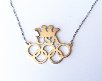 2016 Rio Olympics Necklace,Personalized Necklace,Sterling Silver Name Necklace,Custom Olympic Necklace,5 Olympic Rings Necklace,Any Country