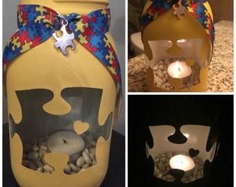 Autism Awareness  Painted Mason Jar Tea Light Candle Holder, Autism, candle, tea light, autism awareness