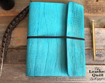 Turquoise Leather - Leather 3 Ring Binder - Leather Binder - Leather Planner - A5 Planner - A5 Binder - Leather Quill - Wedding Planner