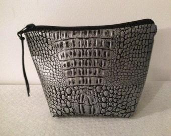 Makeup faux silver grey crocodile bag