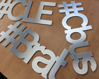 Hashtag Signs, custom text made from metal