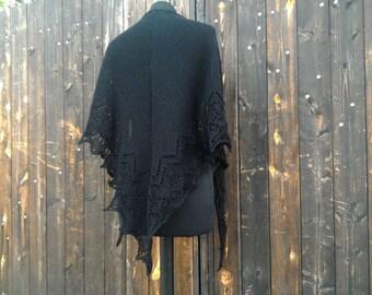 Black Shawl Handmade Knitted Dark Goth