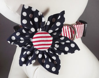 Patriotic Dog Collar, 4th of July Dog Collar. Red White and Blue Dog Collar, Navy  Dog collar, Choose Collar Flower or bow tie