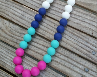 New Silicone Teething/Nursing Necklace, White/Navy/Turquoise/Hot Pink