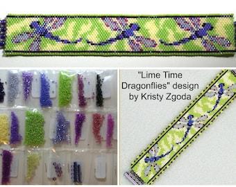 Lime Time Dragonflies by Kristy Zgoda beaded bracelet kit (pattern sold separately)